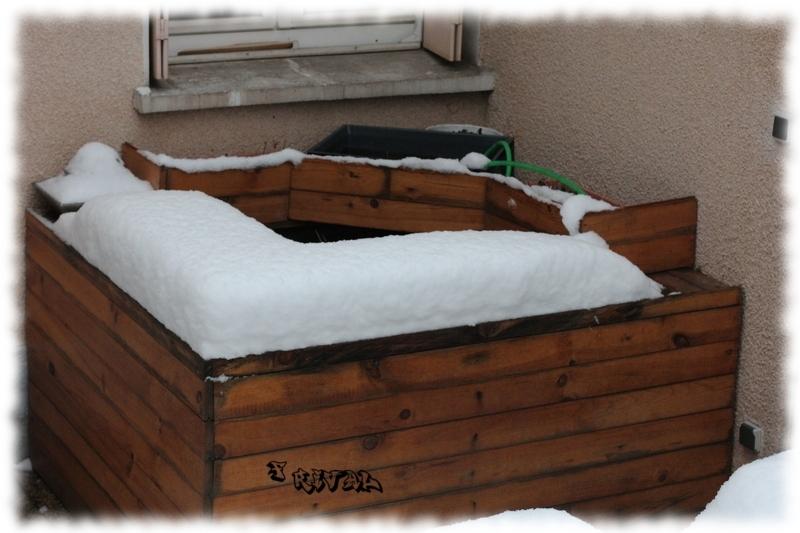 bassin hors-sol sous la neige